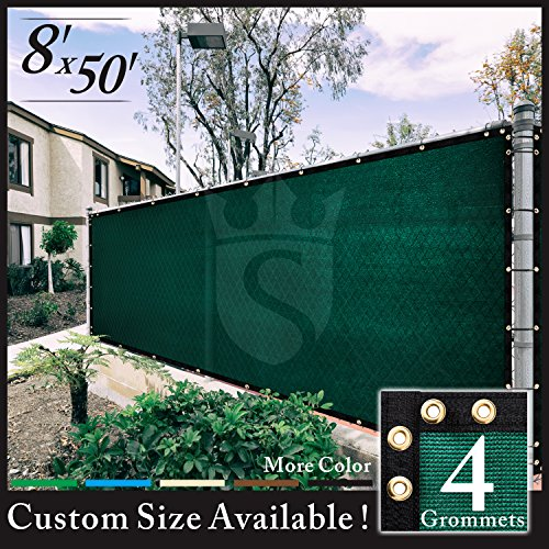 Royal Shade 8' x 50' Green Fence Privacy Screen Cover Windscreen, with Heavy Duty Brass Grommets, Custom Make Size (Custom Windscreen)