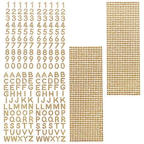 Self-Adhesive Rhinestone Bling Sticker Glitter Alphabet Letter Number Stickers and Crystal Gems Border Stickers for Graduation Cap and Other DIY Craft (Gold), 6 Sheets