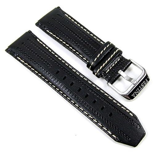 88b58ff3d2d9b Festina Bracelet de Montre de rechange en cuir Band 25 mm noir blanc F16489