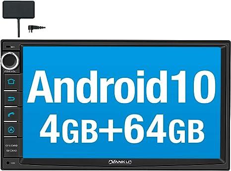Vanku Android 10 Autoradio mit Navi 64GB Android Auto WiFi 4G USB MicroSD 2 Din 7 Zoll Bildschirm 4GB Unterst/ützt Qualcomm Bluetooth 5.0 aptX DAB