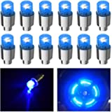 FICBOX 12 PCS LED Bike Wheel Light Tyre Tire Valve Caps Neon Light for Car Motorcycle Bicycle(Blue)