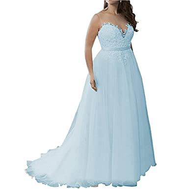 Greendresses Plus Size Wedding Dress Applique Beaded Bridal Gowns Lace Trailing Wedding Gowns Prom Dress Blue