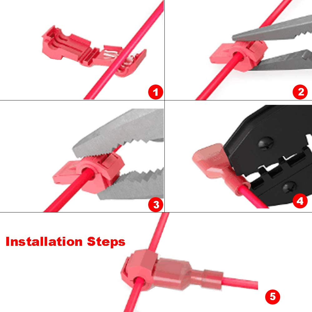 Yosawo 200-Pieces T-Tap Connectors Terminals Wire Splice Connectors,Quick Splice Electrical Connectors Self-Stripping and Nylon Fully Insulated Male Spade Disconnects Kit