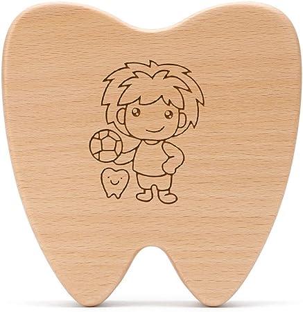 ADbox Bebé Dientes Caja Dibujos Animados patrón Diente en Forma, Madera Diente Recuerdo Caja para niños,Boy: Amazon.es: Hogar