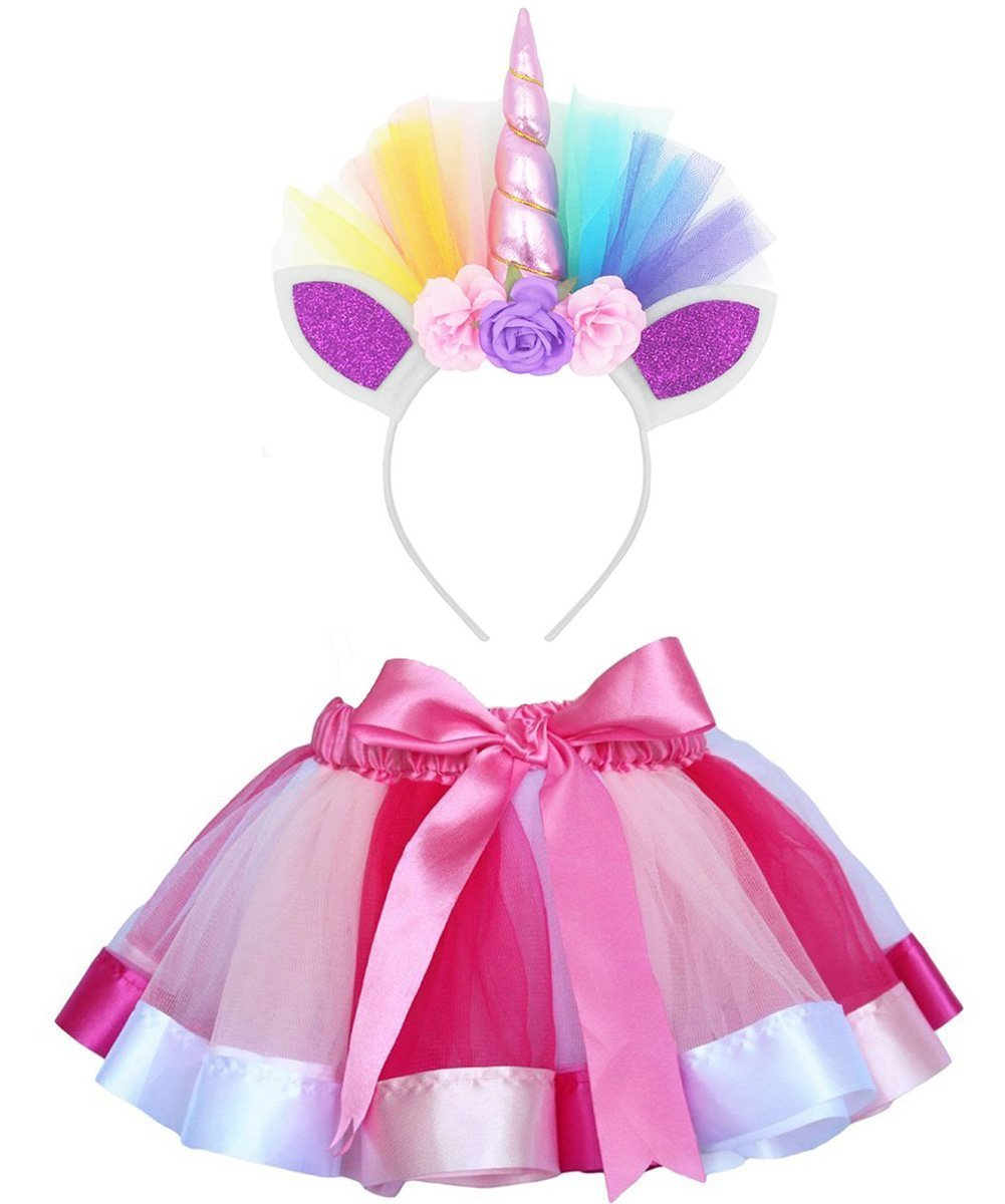 Tutu Skirts Unicorn Headband Baby Girl Ballet Party Halloween Costumes