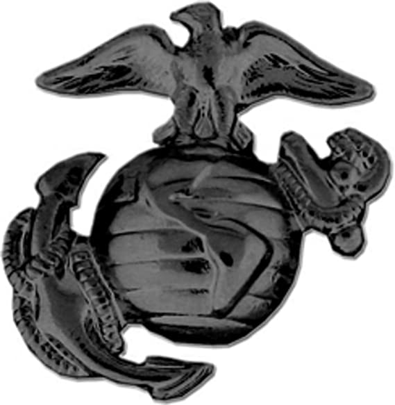 US Marine Corps Eagle, Globe and Anchor Lapel Pin or Hat Pin (Left, Black  Finish)