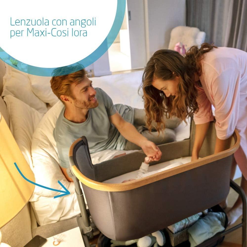 in Cotone Set 2 Lenzuolini Coprimaterasso Culla da Campeggio Maxi-Cosi Lenzuola Culla da Campeggio Iris Colore Bianco e Grigio