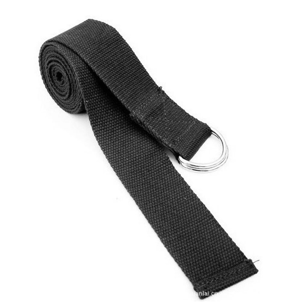 TOOGOO(R)Schwarzer Vereinstellbarer Dehnbarer Fitness Training Yoga-Gurt - 183cm SHOMAT11493
