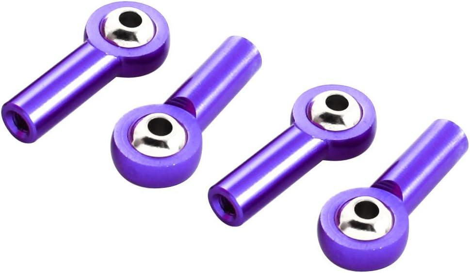 sourcingmap 4 pi/èces Violet M/étal Embout Rotule Sph/érique Joints /À Rotule 3x6x26mm pour RC Car