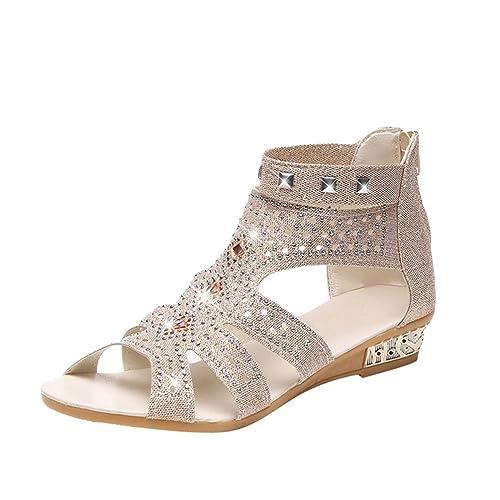 Anguang Damen Flach Schuhe Sommer Sandalen mit Reißverschluss Peep Toe  Party Keil Sandalen Beige 1 99c9fce98a