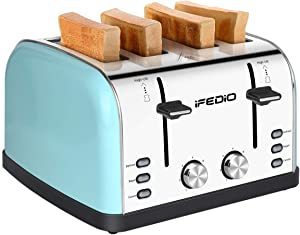 4 Slice Toaster, Extra Wide Slots Stainless Steel with BAGEL CANCEL DEFROST Function for Breakfast, Bread Bagel Toaster Kitchen Compact Toaster, (Blue) 1500W