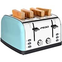 iFedio 4 Slice Extra Wide Slots Stainless Steel with BAGEL CANCEL DEFROST Function for Breakfast,Bread Kitchen Compact Toaster, (Blue) 1500W