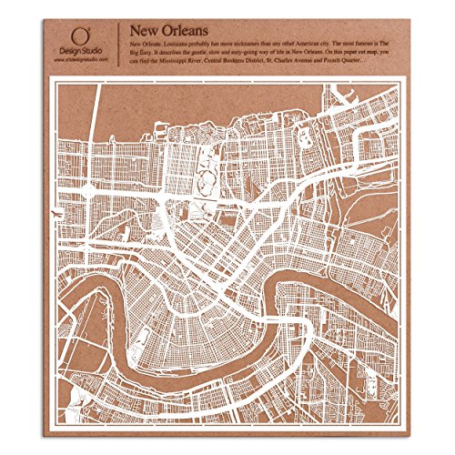 New Orleans Paper Cut Map by O3 Design Studio White 12x12 inches Paper Art