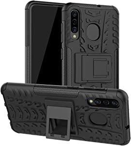 Yiakeng Samsung Galaxy A20 Case, Samsung Galaxy A50 Case, Shockproof Slim Protective with Kickstand Hard Phone Cover for Samsung Galaxy A50/A30/A20 (Black)