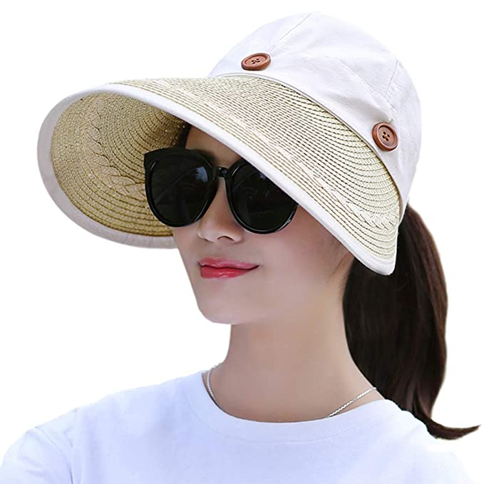 f775ba9fb Women's Wide Brim Floppy Caps Packable Straw Sun Hat Summer UV Protection  Hats with Chin Strap