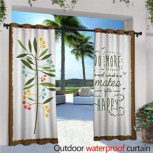 """Quotes Outdoor- Free Standing Outdoor Privacy Curtain Progress Ideas Design Ideology Mindfulness Olive Fruits Flying Birds Leaf for Front Porch Covered Patio Gazebo Dock Beach Home W120"""" x L96"""" Fores"""