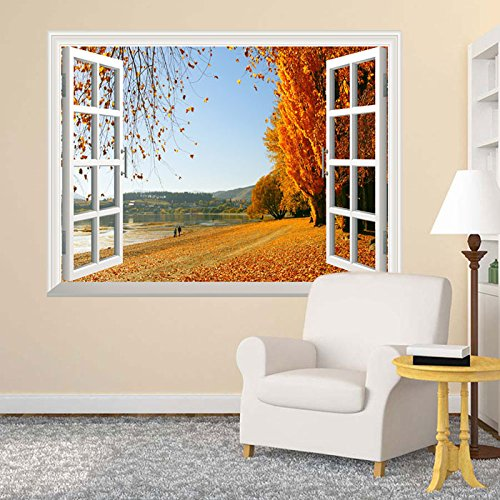 "Autumn Golden Fallen Leaves Open Window Mural Wall Sticker - 24""x32"""