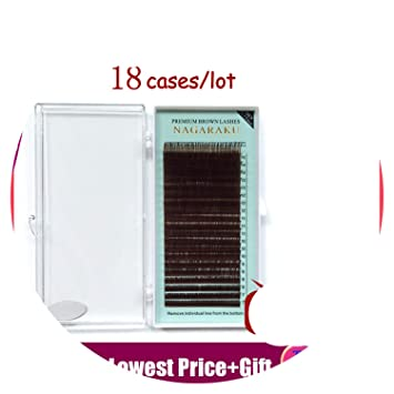 83f20dd5926 Amazon.com : mix 7~15mm brown eyelash extension lashes brown eyelashes.Faux Mink  False Eyelashes light brown color maquiagem cilios, B, 0.10mm, ...