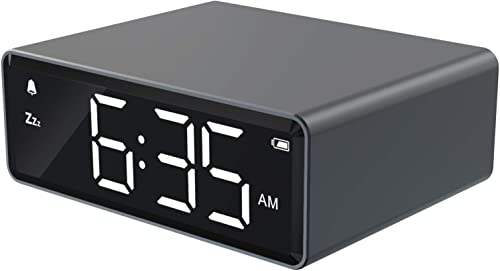 NOKLEAD Digital Alarm Clock – 4 Brightness LED Display with Alarm Snooze 12 24H, Adapter Powered with Backup Batteries, Simple Operations, Small Metal Clock for Bedroom Travel Office Space Gray