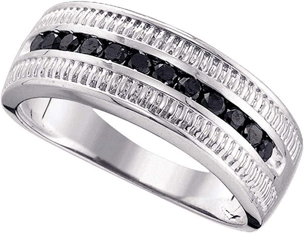 GnD Sterling Silver Mens Round Black Colored Diamond Roped Band Ring 1//2 Cttw
