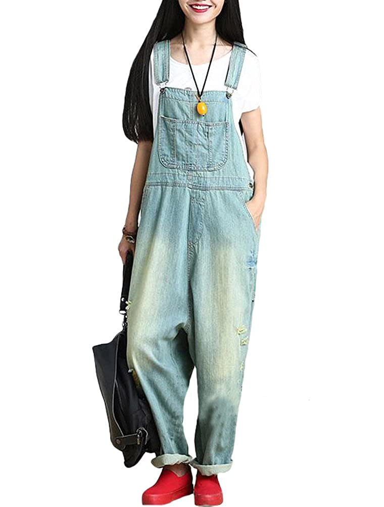 Vogstyle Women's Wide Leg Suspenders Pants Loose Fit Denim Jumpsuit VOG0465
