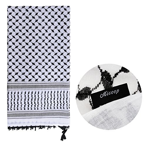 Micoop Large Size Premium Shemagh Scarf Arab Military Tactical Desert Scarf Wrap with Fine Tassels, 2-Pack (White Black & Black White) by Micoop (Image #3)