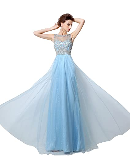 Sarahbridal Womens Long Jewel Beaded Prom Dresses Tulle Formal Evening Gowns SLX024 Sky Blue UK14
