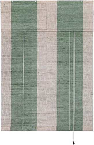Liveinu Handmade 100 Ramie Linen Window Blinds Roller Shades Curtain Drape Stripe Pattern Green 35 x 90