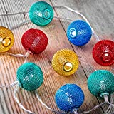Auraglow Set of 12 Battery Operated 2.5m Indoor String LED Fairy Lights with Warm White Glow - Multi Colour Mesh Ball