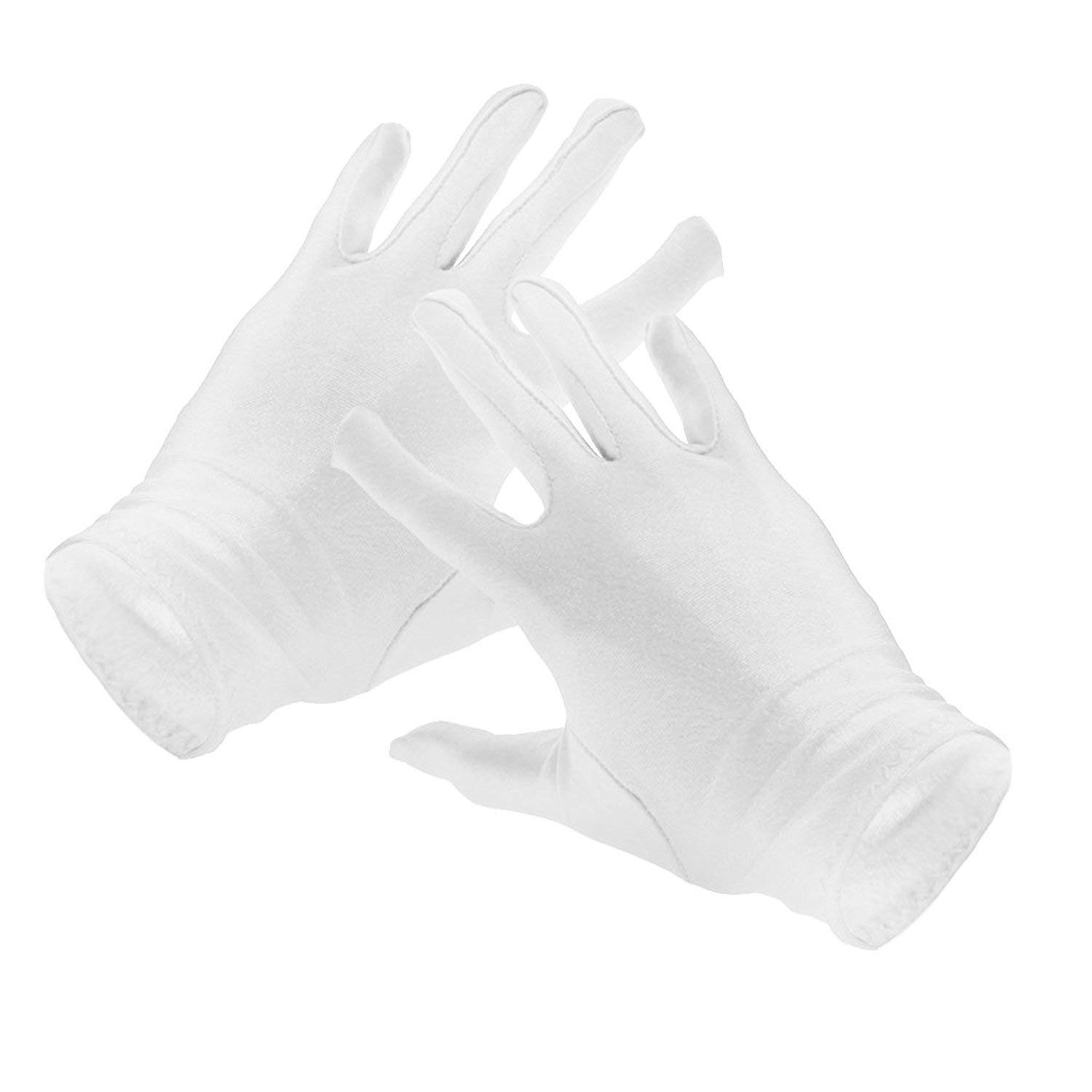 Potelin White Soft Cotton Ceremonial Gloves Unisex Serving Waiter Driver Glove Work Gloves Breathable Absorbent Inspection Gloves Jewelry Gloves