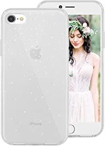 iPhone SE 2020 Case,iPhone 8 Case,iPhone 7 Case for Girls Women,Clear Glitter Design Soft Silicone Protective Phone Case Cover with Anti-Shock Matte Bumper for Apple iPhoneSE2/iPhone8/iPhone7,Clear