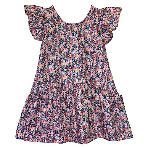 Lucky Jade The Darling Dress | Classic Little Girls Summer Dresses with Ruffled Sleeve and Pocket 100% Cotton Fun Vintage Prints | Made in USA (4/5 Years, Spritz Floral)]()
