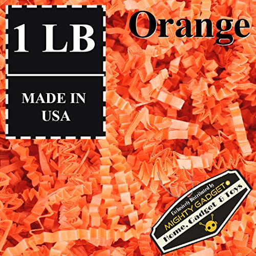 Mighty Gadget (R) 1 LB Orange Crinkle Cut Paper Shred Filler for Gift Wrapping & Basket Filling