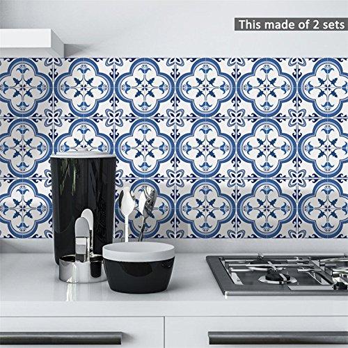 VanBest 1Set/10pcs Blue and White Porcelain Pattern Tile Stickers Wall Decor (Wall Tile Patterns)