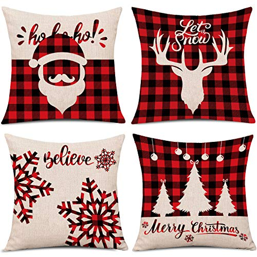 Whaline 4 Pieces Red Black Christmas Scottish Buffalo Checkers Plaid Pillow Case Santa Reindeer Snow X-mas Tree Cushion Cover, Cotton Linen Sofa Bed Throw Cushion Cover Decoration (18
