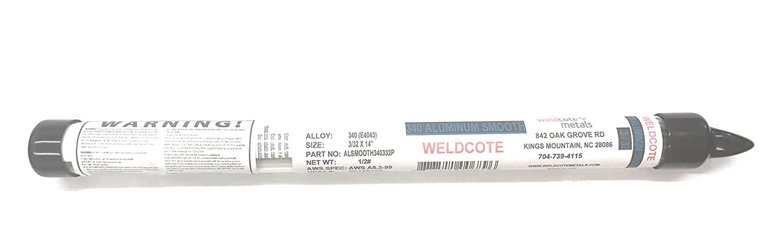 Weldcote Metals 4043 Aluminum Stick Electrode - 1/2# Package (3/32 ...