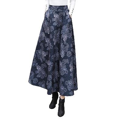c557ccb3802970 Damen Vintage Elegant Plaid Gestreiftes Elastische Taille Wollrock hohe Taille  Langen röcke Mädchen Warm Wolle Retro