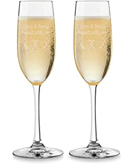 2pk wedding champagne flutes custom engraved toasting glasses