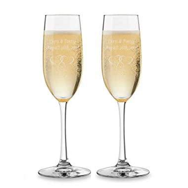 2PK Personalized Wedding Champagne Flutes Custom Engraved Toasting Glasses