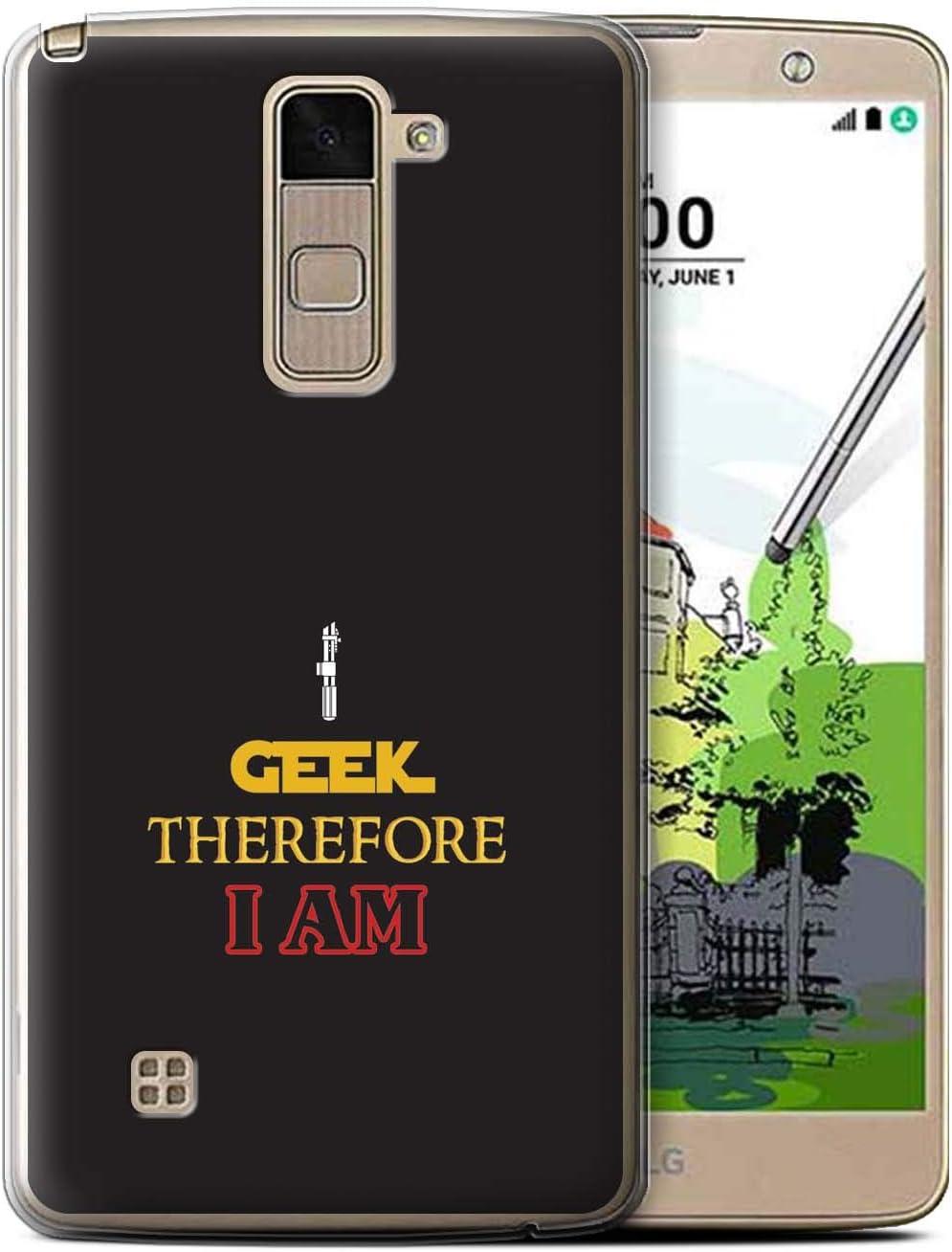 Phone Case for LG Stylo 2 Plus/MS550/K535 Geek Nerdy Gamer Fan I Am Geek Design Transparent Clear Ultra Soft Flexi Silicone Gel/TPU Bumper Cover