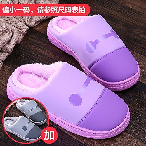 LaxBa Femmes Hommes chauds dhiver Chaussons peluche antiglisse intérieur Cotton-Padded Chaussures Slipper + gris violet38/39 + 42/43