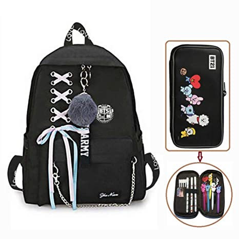 11f89dc8110 Hosston Kpop BTS Newest Printing Backpack, Bangtan Boys School Backpack  College Bag with 1 Pcs Large Capacity Pencil Case Nice Gift for Kids  Children ...