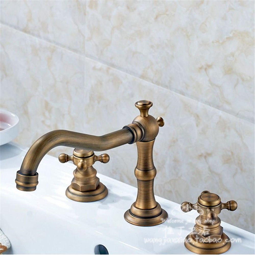 S.Twl.E Sink Mixer Tap Faucet Bathroom Kitchen Basin Tap Leakproof Save Water All Three Holes Copper Antique Split Cold And Hot