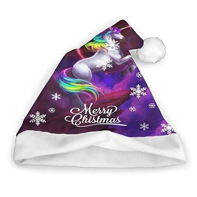 741f04c2efaa9 Amazon.com  Rainbow Dash Unicorn Unisex Children Adults Christmas Hat Xmas  Partyies Costume Accessory Santa Claus Funny Caps  Clothing