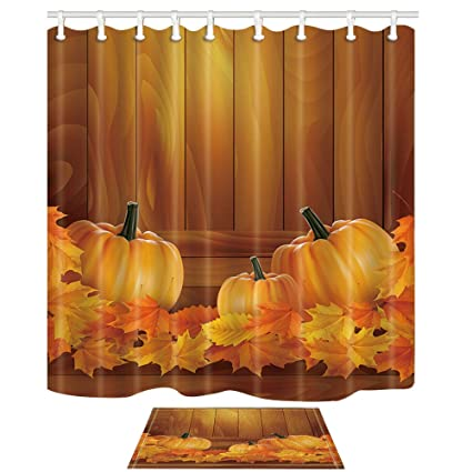 NYMB Autumn Harvest Shower Curtains Pumpkin On Wooden For Thanksgiving 69X70in Mildew Resistant Polyester