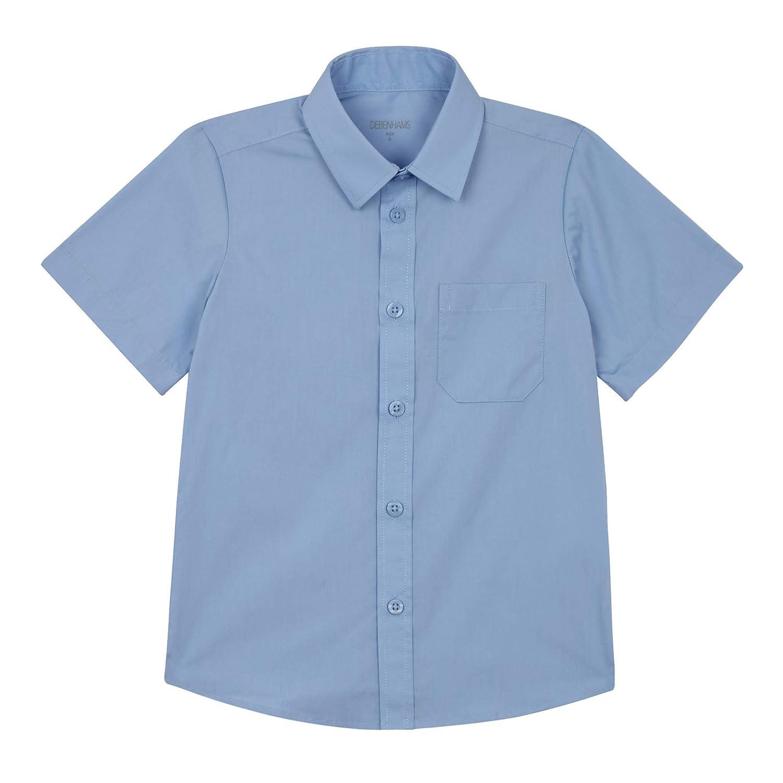 Debenhams Kids Set of 2 Boys Blue Short Sleeve Slim Fit School Shirts Age 9