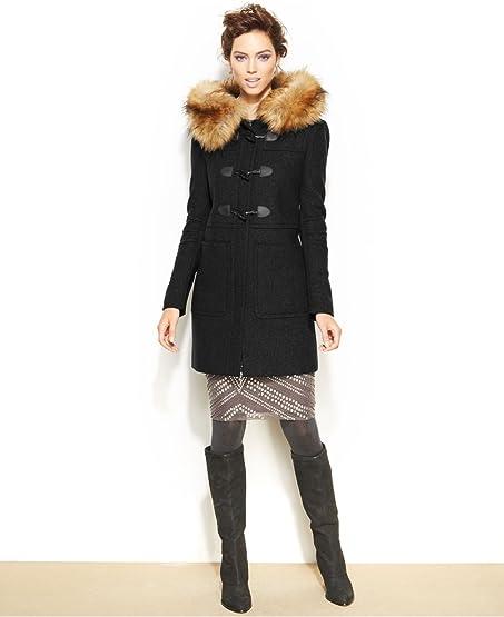 Amazon.com: BCBGeneration Womens Faux-Fur-Trimmed Toggle Duffle ...