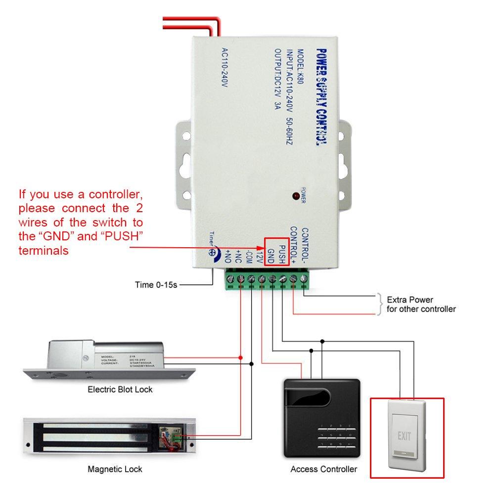 Exit Push Release Button Panel for Electric Door Strike - Doorbell ...