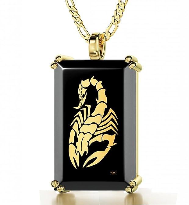 Collar con ónice y escorpión en oro 24kthttps://amzn.to/2McbMrG