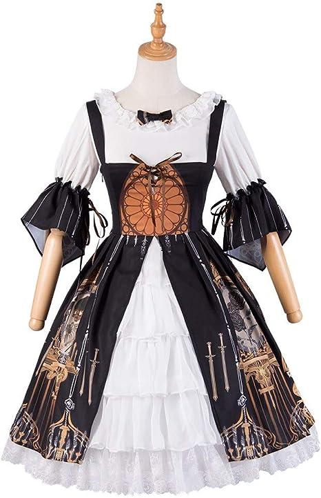 QAQBDBCKL Lolita Cosplay Devil Tears con Camisa Interior Vestido Victoriano Vestido Dulce Tea Party Vestido Gótico Negro: Amazon.es: Deportes y aire libre